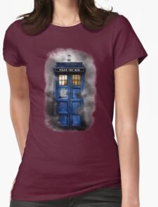Haunted blue phone booth Womens Fitted T-Shirt