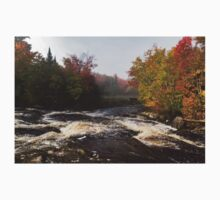Colorful Fall - a River Rushing in the Soft Morning Mist Kids Tee