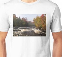 Colorful Fall - a River Rushing in the Soft Morning Mist Unisex T-Shirt
