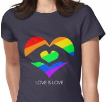 Love Is Love LGBT Hands Love Heart  Womens Fitted T-Shirt