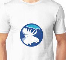 Moose Head Side View Circle Retro Unisex T-Shirt