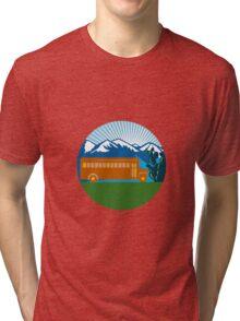 School Bus Vintage Cactus Mountains Circle Retro Tri-blend T-Shirt