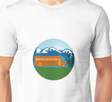 School Bus Vintage Cactus Mountains Circle Retro Unisex T-Shirt