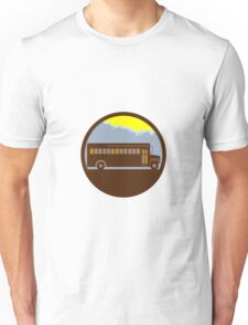 School Bus Vintage Mountains Circle Retro Unisex T-Shirt