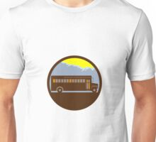 School Bus Vintage Mountains Circle Retro Unisex T-Shirt