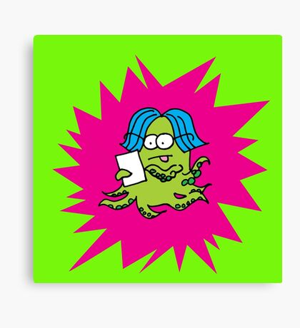 MONSTER WORKING ON IPAD TABLET Canvas Print