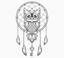 Wise Owl on a dream catcher Kids Tee