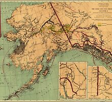 Vintage Map of Gold and Coal in Alaska (1898) by BravuraMedia