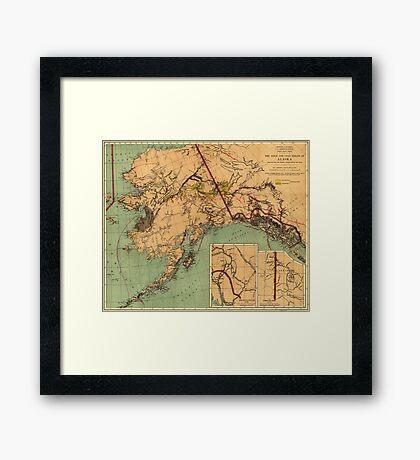 Vintage Map of Gold and Coal in Alaska (1898) Framed Print
