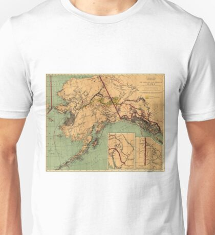 Vintage Map of Gold and Coal in Alaska (1898) Unisex T-Shirt