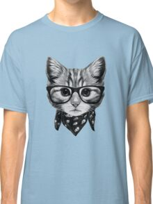 ETOSELL Retro Lady CrewNeck Short Sleeve T-Shirt Cute Cat Print Loose Tops Classic T-Shirt
