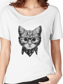 ETOSELL Retro Lady CrewNeck Short Sleeve T-Shirt Cute Cat Print Loose Tops Women's Relaxed Fit T-Shirt