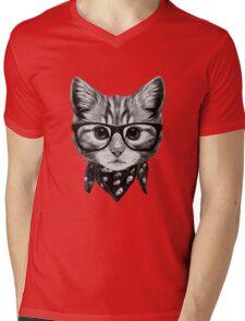 ETOSELL Retro Lady CrewNeck Short Sleeve T-Shirt Cute Cat Print Loose Tops Mens V-Neck T-Shirt