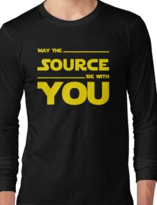 May The Source Be With You - Yellow/Dark Parody Design for Programmers Long Sleeve T-Shirt
