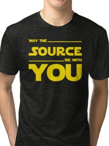 May The Source Be With You - Yellow/Dark Parody Design for Programmers Tri-blend T-Shirt