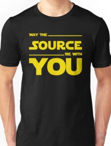 May The Source Be With You - Yellow/Dark Parody Design for Programmers Unisex T-Shirt