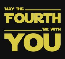 May The Fourth Be With You - Yellow/Dark Parody Design for Geeks One Piece - Short Sleeve
