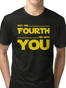 May The Fourth Be With You - Yellow/Dark Parody Design for Geeks Tri-blend T-Shirt