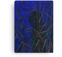 """The Night"", woman silhouette in the grass, ultramarine starry sky Canvas Print"