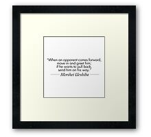 Send him on his way Framed Print