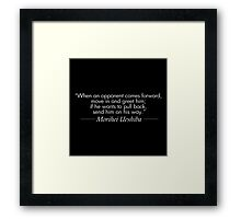 Send him on his way (White) Framed Print