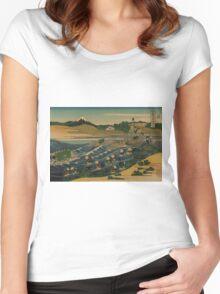 Fuji at Kanaya on the Tokaido - Hokusai Katsushika - 1890 Women's Fitted Scoop T-Shirt
