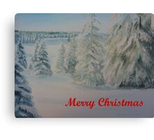 Winter In Gyllbergen Merry Christmas red text Canvas Print