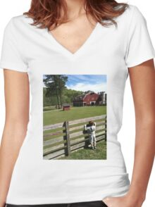Farm visit on a Spring Day. Women's Fitted V-Neck T-Shirt