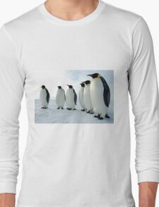 Lined up Emperor Penguins Long Sleeve T-Shirt
