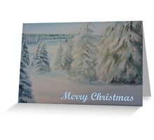 Winter In Gyllbergen Merry Christmas blue text Greeting Card