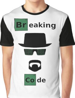Breaking Code - Black/Green on White Bad Parody Design for Hackers Graphic T-Shirt