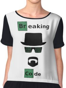 Breaking Code - Black/Green on White Bad Parody Design for Hackers Chiffon Top