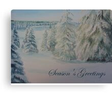 Winter In Gyllbergen Season's Greetings blue text Canvas Print