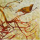 """Honeyeater in Banksia 4"" pillow by Karyn Fendley"