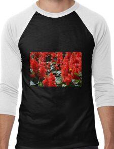 Red flowers pattern Men's Baseball ¾ T-Shirt