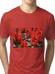 Red flowers pattern Tri-blend T-Shirt