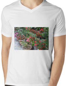Colorful flowers in flower pots in the garden Mens V-Neck T-Shirt