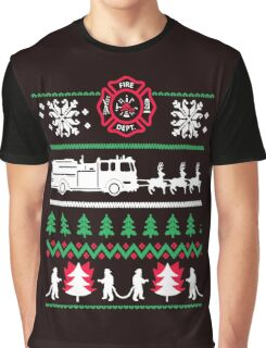 Firefighter Ugly Christmas Graphic T-Shirt