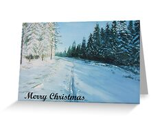 Ski Tracks Merry Christmas dark text Greeting Card