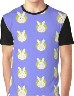 Cute rabbit head with blue circle Graphic T-Shirt