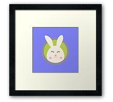Cute rabbit head with blue circle Framed Print