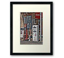 Vintage Gas Pumps Framed Print