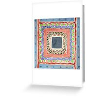 Decorated Gray Central Square Greeting Card