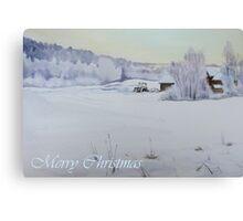 Winter Blanket Merry Christmas blue text Canvas Print