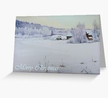 Winter Blanket Merry Christmas blue text Greeting Card