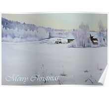 Winter Blanket Merry Christmas blue text Poster
