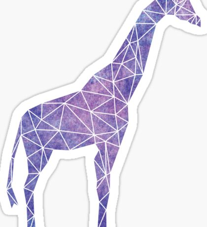 Purple Watercolor Geometric Giraffe Sticker