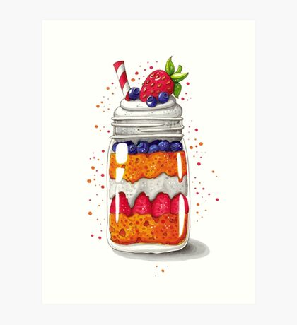 Strawberry and Blueberry shortcake in a jar Art Print