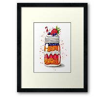 Strawberry and Blueberry shortcake in a jar Framed Print