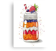 Strawberry and Blueberry shortcake in a jar Metal Print